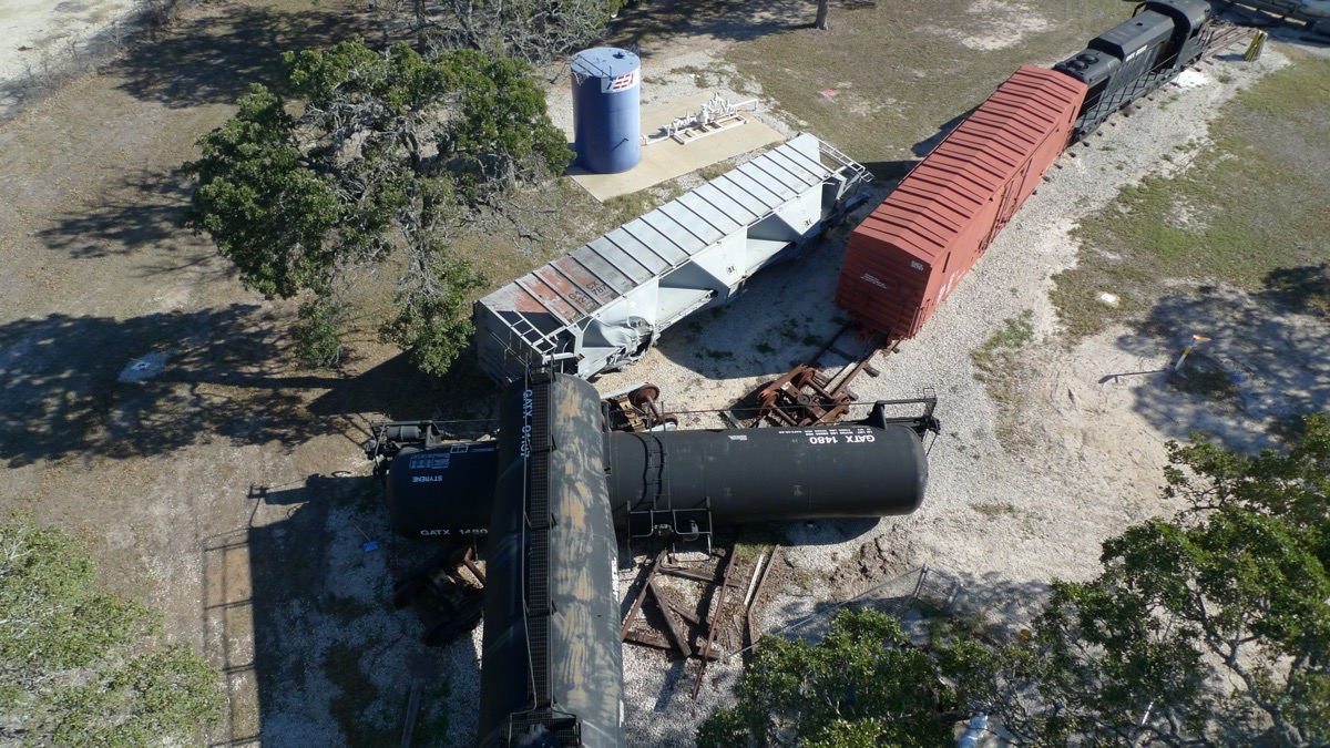 Train derailment drone shot