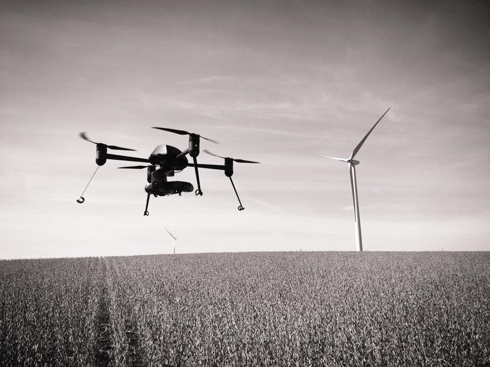 Drone surveying windmill