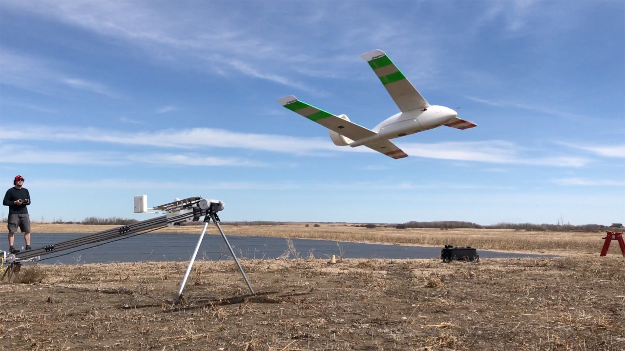 fixed wing drone (uav) launch